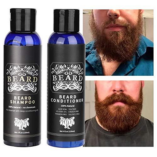 Bart Shampoo und Bart Conditioner Kit für Männer Pflege-Weichmacher & Feuchtigkeitscreme für die Pflege Feuchtigkeitsspendend,stärkend,reinigend und erfrischend Bart und Schnurrbart Gesichtshaar Ges -