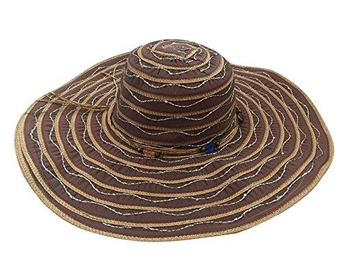 ACVIP Femme Chapeau Pliable Capeline Rayure de Soleil Plage Bord Large avec Ruban Café