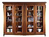 Bücherregal aus Holz mit Glastüren, Möbel mit Schnitzarbeit für Wohnzimmer/Büro, Bücherregal 3 meter mit Füße, 2 Glastüren