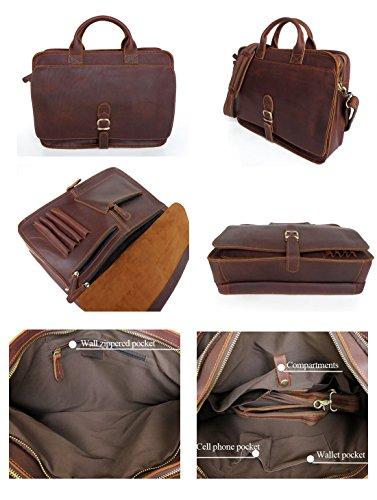 Everdoss Hommes sac à main en cuir sac à bandoulière sac de messager sac d'épaule sac de business sac d'affaires style rétro brun