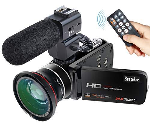 Besteker Wifi Camcorder Full HD 1080P 30FPS tragbare digitale Videokamera mit externem Mikrofon und Weitwinkelobjektiv (Z20 pro)