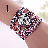 Fenkoo Damenuhren der neuen Diamant Damen runde Armbanduhr bunte Frau drei...