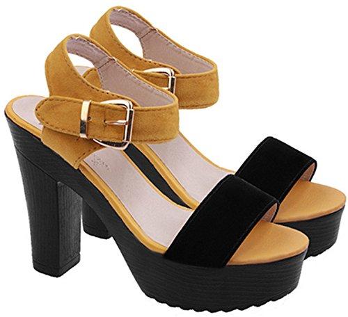 DADAWEN Chaussures de mode femmes/Sandals Fashion Thick Sole à talons hauts Jaune