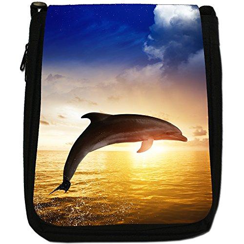 Delfini Medium Nero Borsa In Tela, taglia M Dolphin Jumping In The Sunset