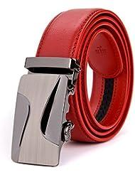 SAMGU luxe Peau de vache hommes boucle automatique ceintur pour les hommes d'affaires rouge belt