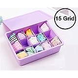 Orpio 15 Grid Plastic Organizer Box Underwear Storage Box Plastic Bra Underwear Socks Storage Box with Lid Clothing Organizer