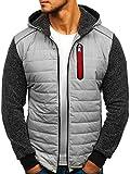BOLF Herren Übergangsjacke Jacke mit Kapuze Reißverschluss Sportlicher Stil RED Fireball HY303 Grau XXL [4D4]