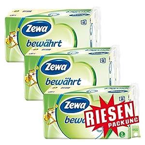 Zewa bewährt Toilettenpapier, strapazierfähiges WC-Papier 3-lagig in zartem Gelb, 1 x Vorratspack mit 48 Rollen (3 x 16 Rollen)