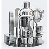 Alcochill 7pc Stainless Steel Cocktail Bar Tool Kit Set Includes Martini Shaker, Ice Tongs, Double Jigger, Corkscrew / Bottle Opener, Strainer & Storage Rack by Alcochill
