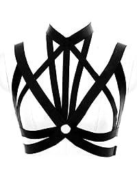 Women's Intimates Dashing Body Harness Sexy Goth Fetish Bondage Lingerie Set Elastic Adjust Strap Tops Bra Halloween Dance Wear Garter Belt Garters