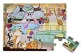 Janod - Puzzle táctil, Un día en el Zoo, 20 piezas (J02774)