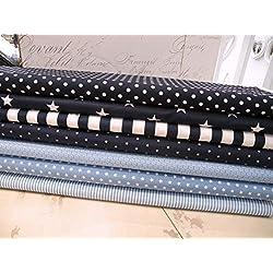 Qjutie Lottashaus - Juego de 6 Mantas de Tela para Gatear o Ropa Infantil, 50 x 70 cm, 100% algodón, diseño de Estrellas, Lunares, Nubes, Color Azul Marino y Blanco