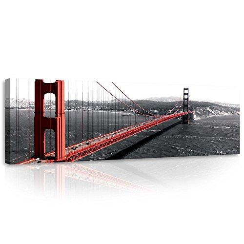 Welt-der-TräumeWANDBILD CANVASBILD Wandbild Leinwandbild Kunstdruck Canvas | Golden Gate | O3 (45cm. x 145cm.) | Canvas Picture Print PP10085O3-MS | Stadt Städtisch Golden Gate Bridge Goldenes Tor (Berühmt Gate Golden Bridge,)