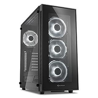Sharkoon TG5 PC-Gehäuse (mit Seitenfenster und Frontblende aus gehärtetem Glas, 2x USB 3.0, 2x USB 2.0, 4x 120 mm LED-Lüfter) weiß