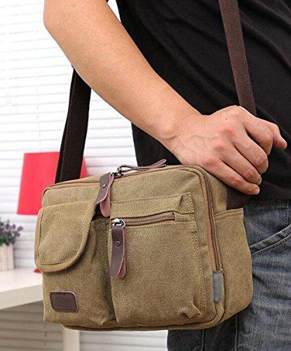 CHAOYANG-Retro lavato tela del messaggero della spalla della borsa della borsa uomini casual , khaki Khaki