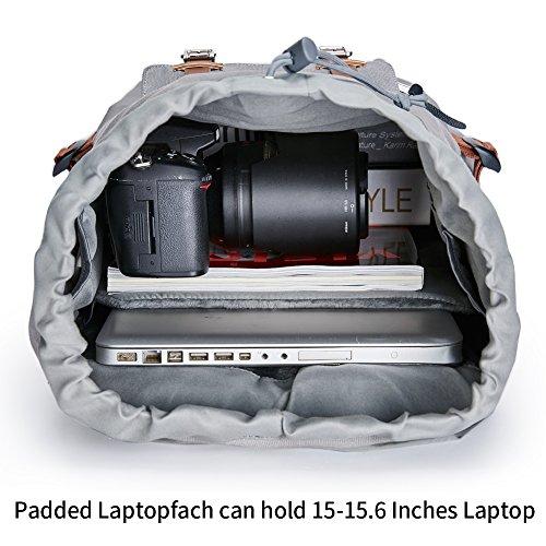 Canvas Rucksack, Casual Daypack mit USB Charge Port Backpack Schulrusack Laptoprucksack für Freitzeit Arbeit Campus Schule Reise, Grau - 2