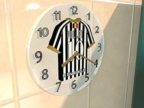 Belgian Jupiler Pro League - Horloge murale avec T-shirt incorporé – Personnalisation gratuite: n'importe quel nom, numéro, équipe!! (R Charleroi SC)