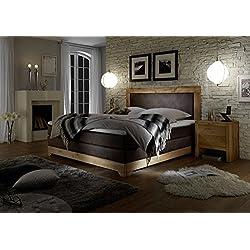 Stellwerk Furniture 1650 Original Boxspring-Bett Massiv-Holz Eiche 180x200-cm H2-H2 Kunst-Leder Braun 7-Zonen Taschenfederkern-Matratze Kaltschaum-Topper Polster-Bett Doppel-Bett