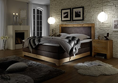Stellwerk Furniture 1650 Premium Boxspringbett Massiv-Holz Eiche 180x200-cm H2-H2 Kunst-Leder Braun 9-Zonen Taschenfederkern-Matratze Polsterbett Doppel-Bett