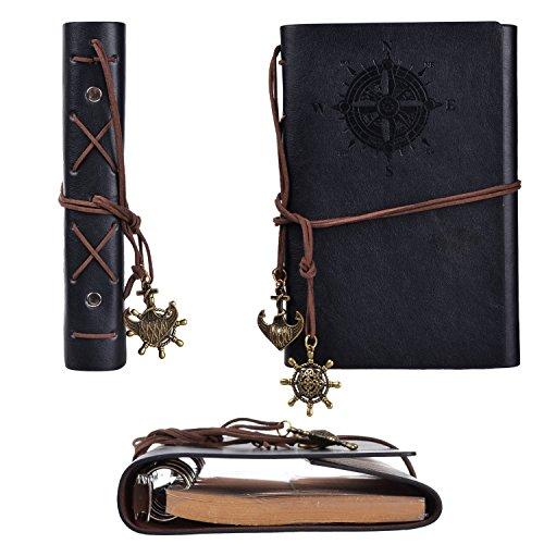 Gearmax Pirata Vintage retrò ancoraggio PU copertura fogli volanti stringa associato bianco Notebook Notepad Travel Journal diario Jotter(Nero)