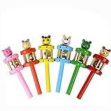 Sonnena Spielzeug, Baby Kinder Karikatur Tiere Geformt Holz Handglocke Musical Spielzeug Musikinstrument Kinder Geschenke Entwicklungsspielzeug für 1-3 Baby (A)