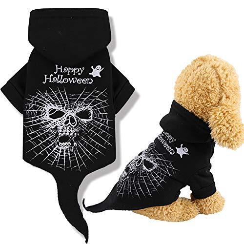 Yu-Xiang schwarz 2 Beine Hund Totenkopf Kapuzenpullover mit Schwanz Halloween Party Pet Skelett Tuch Fleece Lustige Katze Cosplay Winter Kostüm für kleine mittelgroße Hunde Katzen, M -