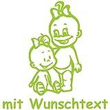 Babyaufkleber Autoaufkleber für Geschwister mit Wunschtext - Motiv G12-MM (16 cm)