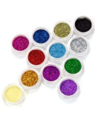 Fraulein38 Lot de 12 couleur poussiere paillette glitter deco gel tip acrylique