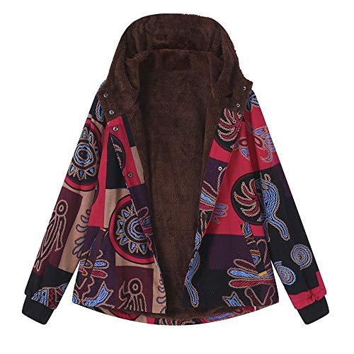 (iHENGH Neujahrs Karnevalsaktion Damen Herbst Winter Bequem Lässig Mode Frauen Winter Warm Outwear Mit Kapuze Blumendruck Pocket Vintage Oversize Coat)