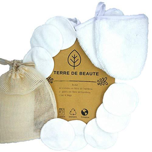 Cotons & Gants Démaquillants Lavables - Coton Bambou Bio...