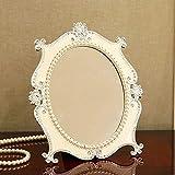 Makeup retro mirror European desktop mirror Dressing Cosmetology mirror Diamond queen Girl/princess/goddess bedroom Home improvement HD blue White Large size