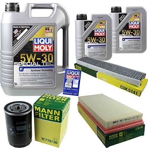 Filter Set Inspektionspaket 7 Liter Liqui Moly Motoröl Special Tec F 5W-30 MANN-FILTER Innenraumfilter Luftfilter Ölfilter - Type Of Service