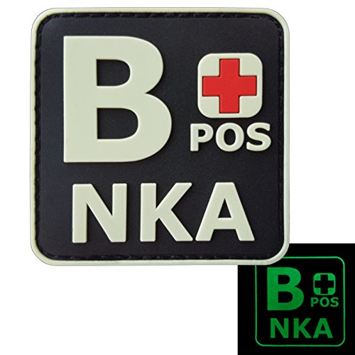 2AFTER1 Glow Dark BPOS B+ NKA Blood Type No Known Allergies Tactical Morale PVC Rubber Touch Fastener Patch - Blood Type Patches