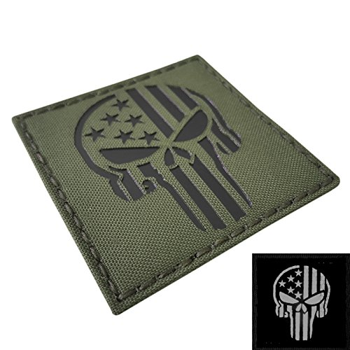 IR OD Green Punisher Skull USA Flag 3x3 Laser Olive Drab Infrared Tactical Morale Hook-and-Loop Patch