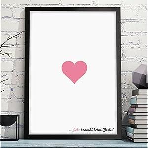 LIEBE BRAUCHT KEINE WORTE - hochwertiger Kunstdruck – liebevolles Geschenk zum Geburtstag Jahrestag Hochzeitstag Valentinstag Weihnachten für Mann & Frau Freund & Freundin - Rahmen optional zubuchbar