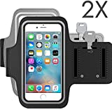 (2 Pack)[Lifetime Warranty] iPhone 6 Plus Armband, J2CC Sport Armband for Running, Jogging, Walking, Hiking, Workout and Exercise,Premium Water Resistant Arms Package Armband Cell Phone Bag Key Holder For iPhone 6/6s Plus(Black + Grey)