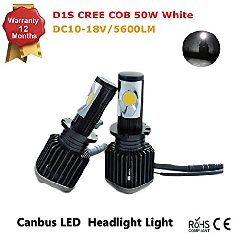 D1S LED Headlight Conversion Kit - All Bulb Sizes - 12V 50W 5600LM COB LED - Replaces Halogen & HID Bulbs (D1S D2R D2S D3S D4R