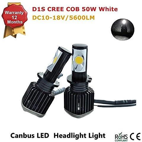 Kit de conversion Phare LED Série D–Toutes les tailles de ampoule–50W 5600lm COB LED 12V–Remplace ampoules halogènes et HID (D1S, D2R D2S, D3s, D4r D4S)