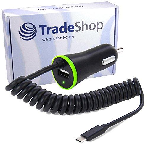 KFZ Auto Schnell-Ladekabel Ladegerät USB 3.1 Typ C 2,1A Anschluss mit zusätzlichem USB Port und 120cm Spiralkabel für Sony Xperia L1 XA1 Plus Ultra XZ1 XZ1 Compact, Ulefone Armor 2, Vernee Apollo Lite X, ZTE Blade V8 Pro 64 GB