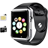 HealthMax (TM) HMS01-BK with SIM card, 32GB memory card slot, Bluetooth and Fitness Tracker Smartwatch
