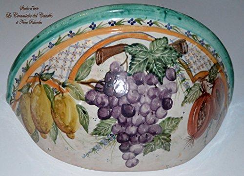 Vaso da muro Svuota-tasche da interni Linea Frutti misti Realizzato a mano Le Ceramiche del Castello Pezzo Unico Made in Italy