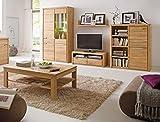 expendio Wohnzimmer Pisa 40 Eiche Bianco massiv 5-teilig Wohnwand Couchtisch Wohnmöbel