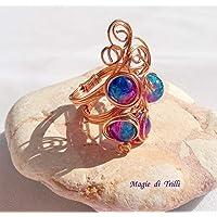 Magie di Trilli: Anello artigianale donna regolabile in filo per gioielli rame, con perle cangianti rosa e blu. Idea regalo San Valentino