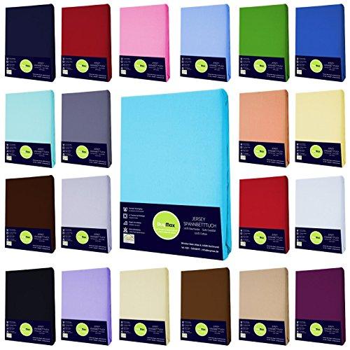 Jersey Spannbettlaken Spannbetttuch 100% Baumwolle Bettlaken in 5 Größen und vielen Farben Öko-Tex (90x200-100x200 cm, Royalblau)