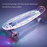 BAYTTER 22 Zoll Mini Cruiser Skateboard Komplett Board 55cm transparent mit LED Deck und LED Leuchtrollen USB Kabel, 95A Rollenhärte, 85A PU Rädern und ABEC-5 Kugellager (transparent mit LED) -