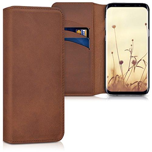 kalibri-Echtleder-Tasche-Hlle-fr-Samsung-Galaxy-S8-Case-mit-Fchern-und-Stnder-in-Cognac