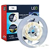 Briloner Leuchten, max Power LED Band, LED Strip con interruttore, 1m, 1100Lumen, 6500K Bianco freddo, autoadesivo, accorciabile, 16W, 72X LED, 1.5m di cavo con spina, flessibile, con LED, colore bianco