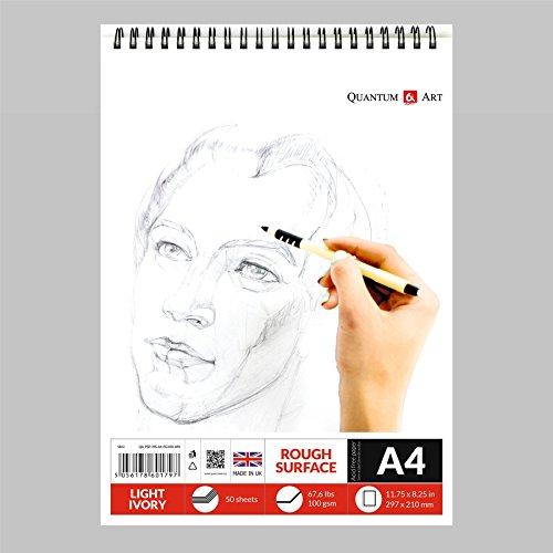 Carnet à croquis à spirales A4 de couleur ivoire clair - 50 feuilles - 100 pages