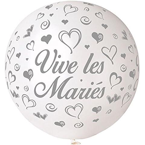 Ballon géant rond vive les mariés diam 80 cm blanc