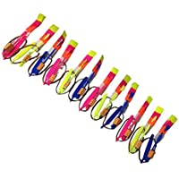 Newin Star Lote de 10 flechas de cohete con luz LED, juguete volador elástico para zapatillas de hélice para descargar, de cobre, de Arrow